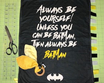 BATMAN Taggy, Superhero Taggy, Batman, Security blanket, Tag blanket, Lovey