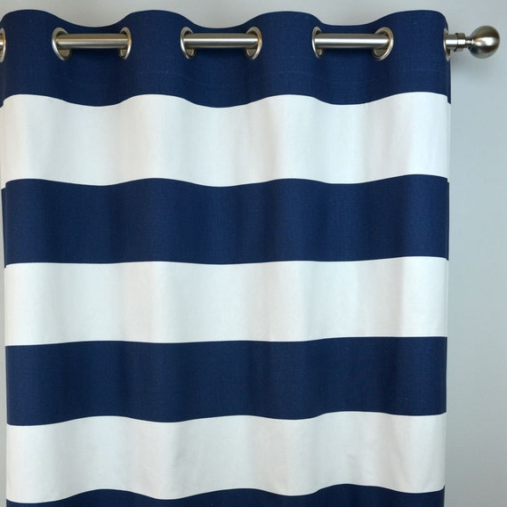 and inch pair panel curtain curtains pinstripe navy white blue set fabric