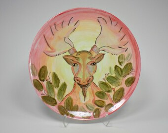 """Bearded Moody moose in the woods painted ceramic 8"""" round salad dish - OOAK"""