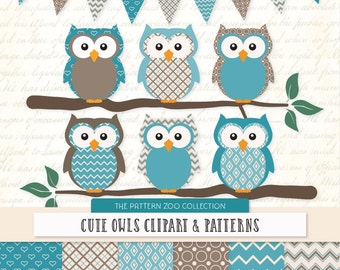 Patterned Vintage Blue Owls Clipart and Digital Papers - Teal Owl Clipart, Owl Vectors, Baby Owls, Cute Owls, Vintage Owls