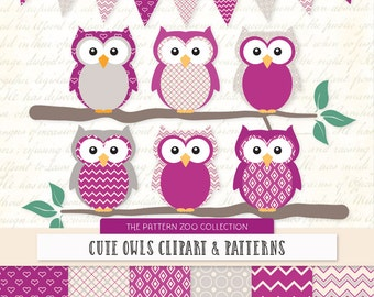 Patterned Fuchsia Owls Clipart and Digital Papers - Fuchsia Owl Clipart, Owl Vectors, Baby Owls, Cute Owls