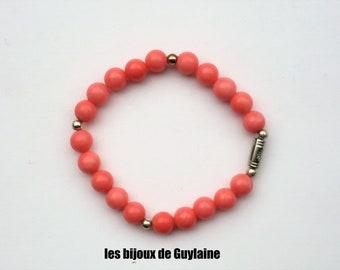 salmon pink coral bracelet