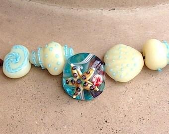 5 pieces Starfish Beads, Shell Beads, Seashell Ocean Beads, Mixed Lot