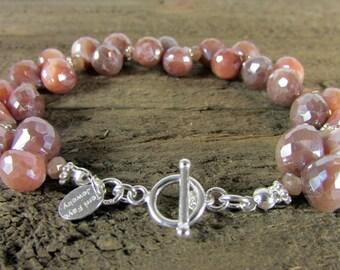 Silverite Gemstone Bracelet, Mystic Sapphire Bracelet, Genuine Gemstone Jewelry
