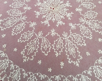 """Antique Tambour Lace Parasol Cover, 39"""" x 35"""" Oval, Victorian Lace for Home Decor, Costume Use,  Textile Lace Study or Cutter Piece"""
