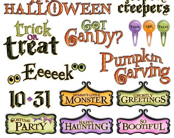 Halloween Digital Word Art Clipart - Halloween Sayings Digital Scrapbook Titles Printable - Digital graphics - PNGs - Instant Download