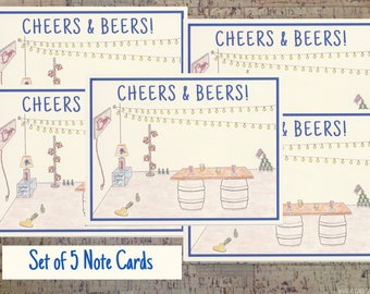 Note Card Set, Mens Stationery, Beer Gift, Stationery Set, Notecard Set, Personal Stationery, Gift For Men,  Stationery Gift, Beer Lover