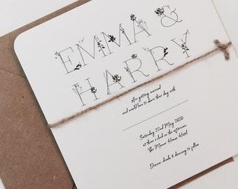 Wild Flower Wedding Invitation Invite Botanical Rustic Simple