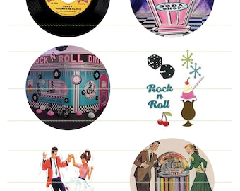 50s-60s Rock And Roll Images Instant Download Juke Box Printable 50s Music Printable Sock Hop Scrapbook Cupcake Topper Non Eatable Cake Deco