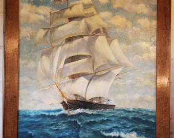 Large, Ship, Painting, Seascape, Oil, Marine, Tall, Ship, Clipper, Full, Sail, Antique
