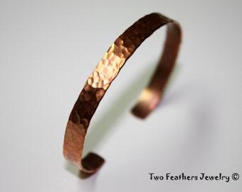 Copper Cuff Bracelet - Hammered Cuff - Copper Bracelet - Skinny Cuff - 7th Anniversary Gift - Solid Copper - Minimalist - Stacking Bracelet