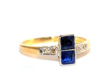 Edwardian Square Sapphire 2 Stone Ring c.1915 - FREE WORLDWIDE SHIPPING