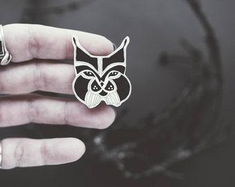 Black lynx wild cat brooch, handmade jewelry, drawing, black and white, animal