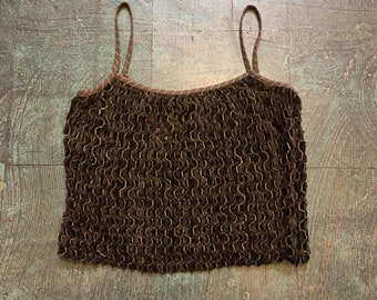 Vintage retro 90s chunky open knit boxy crop top tank // size M medium // Spring summer boho grunge festival