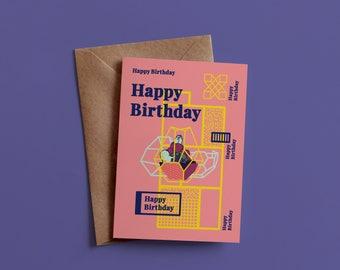 Birthday Card, Crystals, A6, Greeting Card, Happy Birthday Card, Birthday Gift, Illustration, Typography, Happy, Gift, Illustrated Card