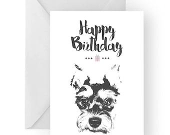 Schnauzer blank birthday card- schnauzer greeting card, dog card, puppy birthday card, cute dog birthday card, Birthday card