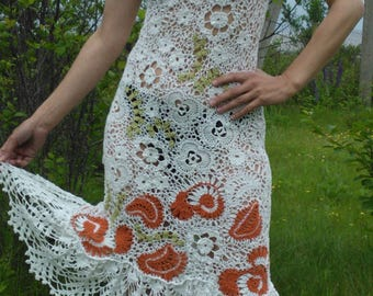 A dress that is crocheted, Irish lace.