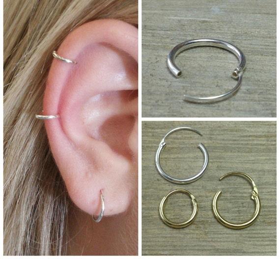 Silver hoop earrings men's apparel - cartilage hoop earrings gold plated