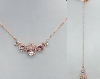 Backdrop Bridal Necklace,  Blush Back Drop Necklace, Back Drop Wedding Necklace, Pink Crystal Necklace, rose gold wedding jewelry for brides