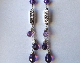 Silver Amethyst Earrings- Wire Wrapped, Trio of Gemstones