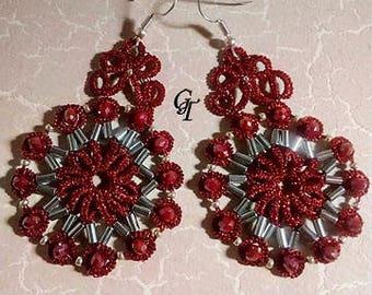 Flower rosette earrings