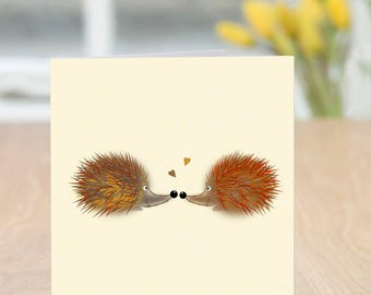 Hedge Snog - Cute and Quirky Romantic Hedgehog Card (Blank Inside)