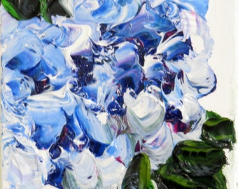 Hydrangea Blue On White Impasto Oil 6 x 6 -Original-Impressionsm-Home Decor-Abstract-Wedding Gift-Floral-Spring-Affordable-Textured Oil