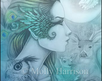 Spirit of Artemis 2 - Greek Goddess - Diana - Fantasy Art Giclee Print by Molly Harrison 5 x 7