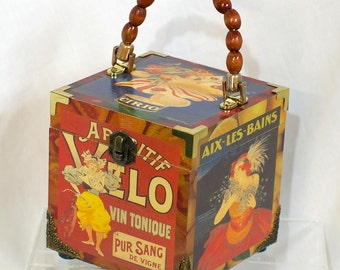 French Street Posters Wood Box Purse