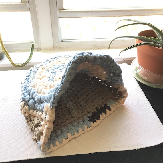 Hand crocheted upcycled rag pet bed cat small dog