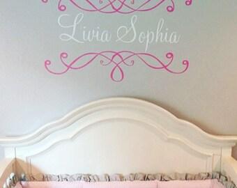 Elegant Scroll Vinyl Decal Personalized Large Vinyl Wall Name Decal Housewares Girl Nursery Bedroom