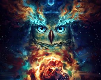 Aurowla - Signed Fine Art Print - Wall Decor - Fantasy Owl Galaxy Painting by Jonas Jödicke