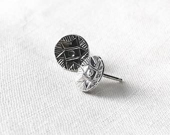 Aztec Sun Stud Earrings // Sterling Silver