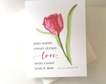 """Love from Song of Solomon 8:7, """"Many waters cannot quench love, rivers cannot wash it away.""""  Valentine, Pink Tulip"""