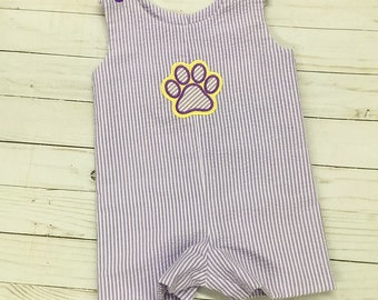 Tiger Paw Jon Jon in purple Seersucker with coordinating Tiger Paw Applique for Infant and Toddler Boys