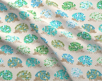 Hedgehog Fabric - Hedgehog Polkadot - Blue And Green By Heleenvanbuul - Woodland Hedgehog Cotton Fabric By The Yard With Spoonflower