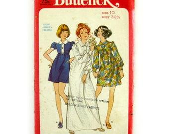 Vintage 1970s Designer Marcus Ors Sewing Pattern / Baby Doll Dress / Maxi Dress / Mini Dress / Buterick 5718 / Size 10