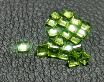 15%SALE Natural Green Peridot 3x3 mm Square Shape,Princess Cut,High Quality Gemstone 21pc lot Loose Gemstone( August birthstone) CODE#AHPE04