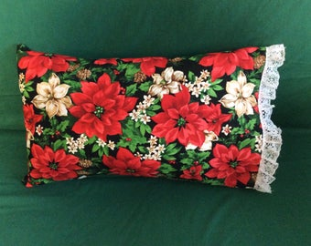 Red Poinsettia Pillow with removable cover