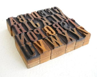 A to Z - Vintage Letterpress Wood Type Collection - 1 inch high - LP50