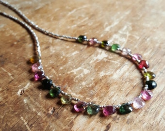 Tourmaline Necklace Tourmaline Necklaces Gift for Women Womens Watermelon Tourmaline October Birthstone Beaded Gemstone Gifts for Her Wife