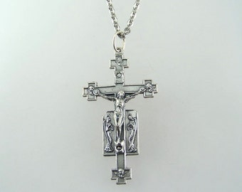 Angels and Cherubim Crucifix Necklace with Your Choice of Chain