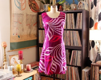 90s vintage magenta batik cotton sundress, attached belt lightweight summer dress by Caribelle Batik