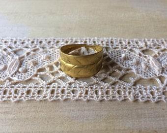 Leaf - Handmade Brass Leaf Ring Adjustable