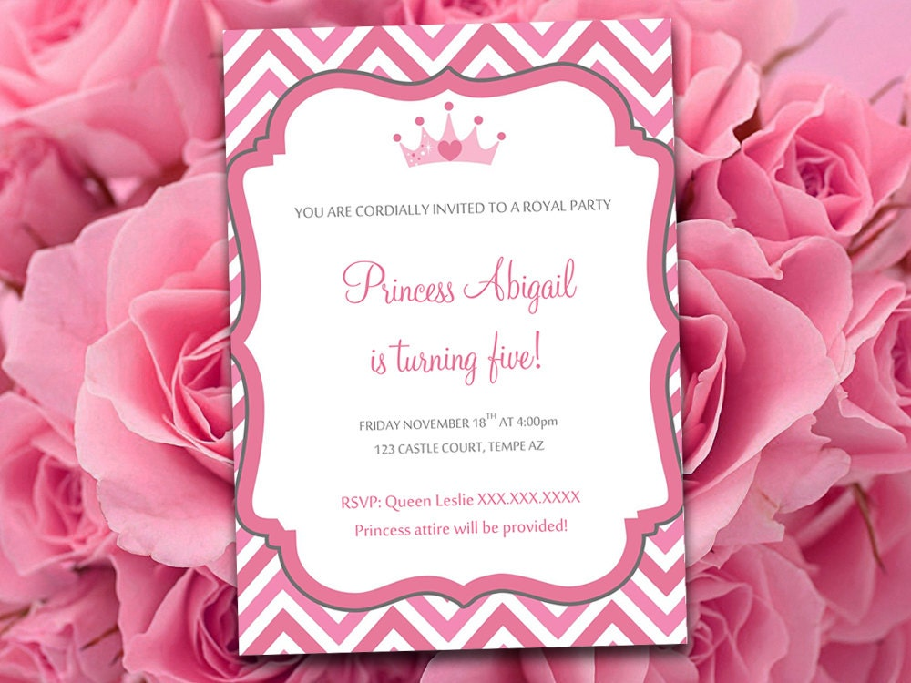 Birthday Party Invitation Template Princess Party Invitation