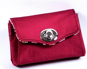 Wallet Clutch Purse, Red Silk Wallet, French Purse, Clutch Wallet by WhiteCross Designs, Handmade in USA
