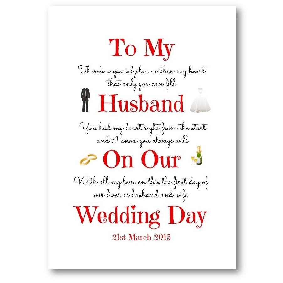 Unique Personalised Husband Wife Wedding Day Card