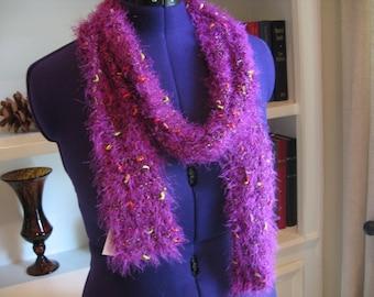 Hand Knit Scarf  in Magenta Yarn
