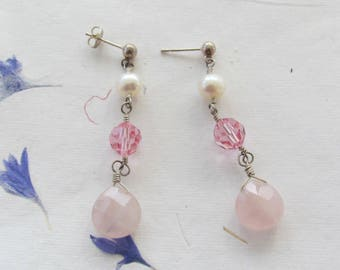 Rose Quartz Freshwater Pearls Swarovski Crystal Sterling Silver Earrings