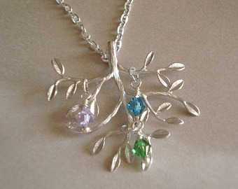 Silver Tree Necklace Birthstone Tree Necklace Tree of Life Necklace Personalized Jewelry Mom Child Necklace